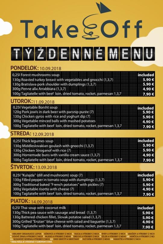 TakeOff menu